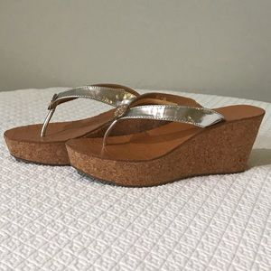 Tory Burch I NEW - Silver Thora Wedge Sandals 36 6